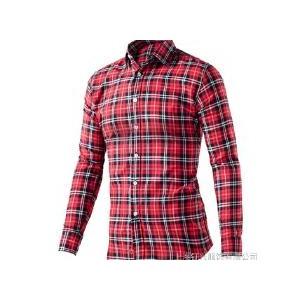 男士格子衬衫不起皱 加厚衬衫 秋冬衬衣