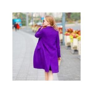 紫色中长款加棉毛呢