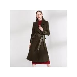 双排扣加厚夹棉毛呢大衣外套女系腰带